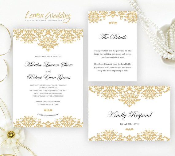 gold wedding invitation kits classic damask wedding invitations
