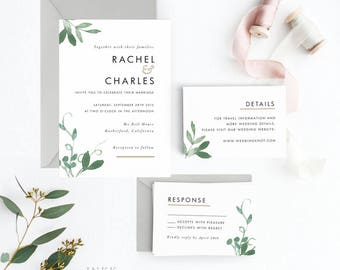 Modern Botanical Wedding Invitation Suite, Wedding Invitation Printable, Invitation Set, Invitation Rustic, Letter or A4(Item code: P127)