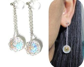 Swarovski AB Rondelle Rhinestone clip-on earrings |9G| Dangle 925 Silver Chain Drop Earrings Invisible Clip on Earrings Non Pierced Earrings
