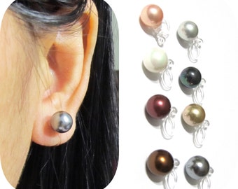 8mm Shell Pearl Clip On Earrings  10A  Non pierced earrings invisible clip-on comfortable bridal clip-on painless wedding clip on earrings