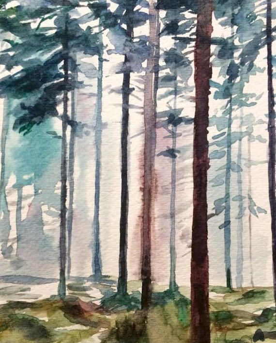 Tree painting, Misty trees, watercolor trees, forest, Misty landscape, tree landscape, forest landscape, Misty pines