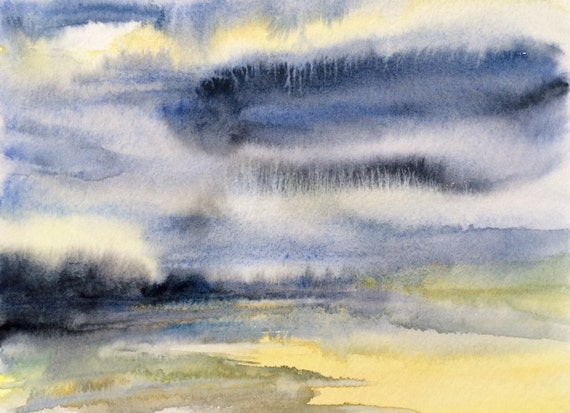 Watercolor landscape, abstract landscape, semi abstract, semi abstract landscape, landscape watercolor, wet in wet, stormy sky painting