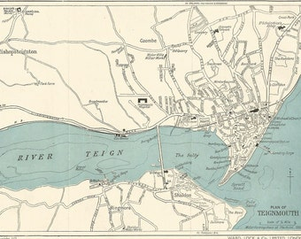 1940 map of teignmouth devon england antique map   vintage wall decor.