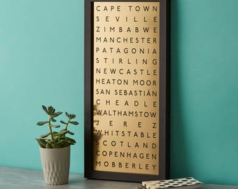 Metallic Destination Print Framed|copper|bronze|gold|Traveller|Favourite Places|Engraving|personalised|subway|routemaster bus