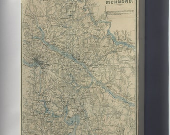 Canvas 24x36; Map Of Environs Of Richmond Virginia 1864