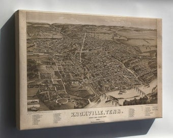 Canvas 24x36; Map Of Knoxville, Tennessee 1886