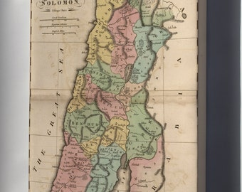 Canvas 16x24; Bible Map Of Israel During Reign Of Solomon 1826