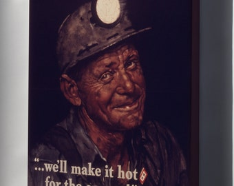 Canvas 16x24; Mine Americas Coal By Norman Rockwell 1941