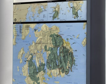 Canvas 16x24; Map Of Acadia National Park, Maine,  1989