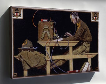 Canvas 16x24; U.S. Army Teaches A Trade Telegraph By Norman Rockwell 1919