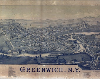 16x24 Poster; Map Of Greenwich, New York 1885