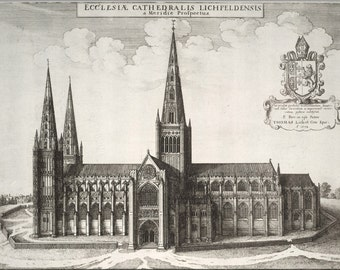 16x24 Poster; Lichfield Cathedral 17Th Century Map By Wenceslaus Hollar