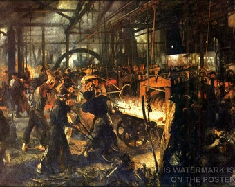 16x24 Poster; Steelwork In Königshütte, Production Of Railway Tracks, Painting By Adolph Menzel