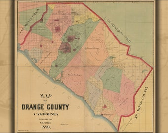 16x24 Poster; Map Of Orange County, California 1889