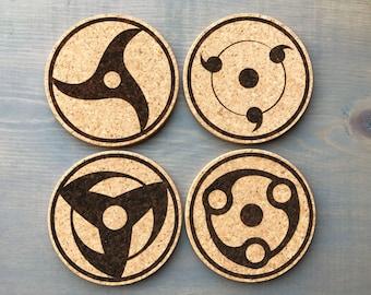 Naruto Coasters Gift Decor Shippuden Sharingan Laser Burned Cork Coaster Set of 4