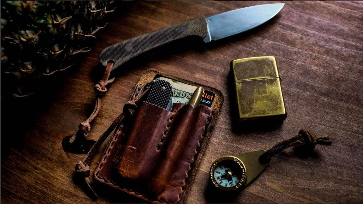 Chestnut Edc Card Caddy Leather Card Wallet For Everyday