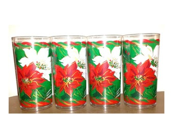 Christmas Tumblers,Set of 4,Thermo Serv Tumblers,Poinsettia Tumblers,Acrylic Tumblers,Thermo Serv Christmas,Plastic Christmas Tumblers,1960s