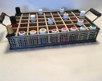 Metal Tray Essential Oil Storage holds 40 (15ml) bottles  8 (5ml) bottles and 6 roller bottles  rack/shelf/box/tin/vintage/Apothecary