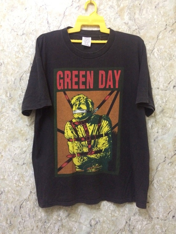 Vintage 90s Green Day Band T-Shirt Rock Band Punk Rock
