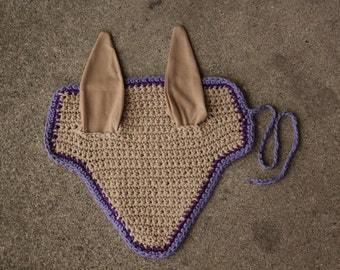 Purple and Tan Horse Fly Bonnet