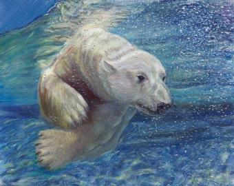 Polar Bear Painting, Polar bear Picture, Polar bear Wall Art, Under the Water, Arctic, Sea Green, Blue, Aqua, Waves, Ocean, Giclee print