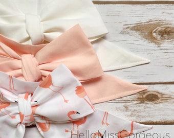Gorgeous Wrap Trio (3 Gorgeous Wraps)- Blanc, Light Pink & Mingo Love Gorgeous Wraps; headwraps; fabric head wraps; headbands