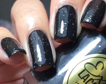 BLACK ICE Thermal Color Changing Nail Polish Black Sterling Silver Flakes