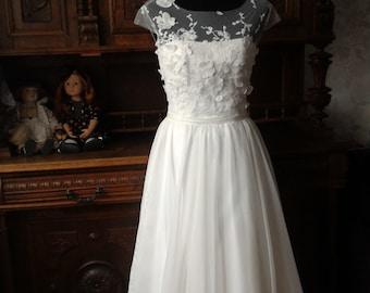 Vintage Inspired A-Line Wedding Dress with Lace Corset, Lace Illusion Neckline, Chiffon Skirt, Open Back Cutout,chiffon wedding dress
