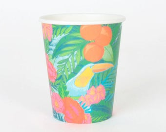 12 tropical party paper cups
