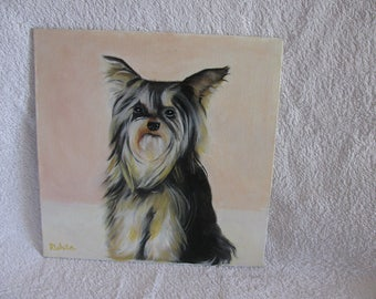 Original oil painting of a very sweet little Yorkshire Terrier.