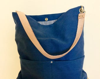 Blue Hobo bag, Canvas hobo bag, diaper bag , beach bag with Real Leather Strap