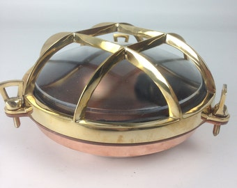 Brass & Copper 4-Bar Round Ship's Bulkhead Light (Ribbed Glass Optional)