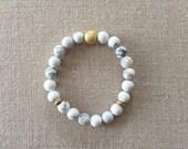 Marble Beaded Bracelet   Matte White Howlite Bracelet