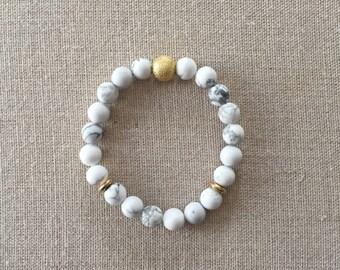 Marble Beaded Bracelet | Matte White Howlite Bracelet