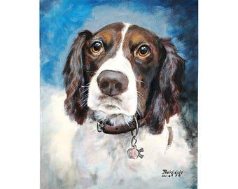"CUSTOM pet portrait acrylic on canvas  (MEDIUM size 12x16"") -  custom dog portrait - ONE pet - N-Wl_M"
