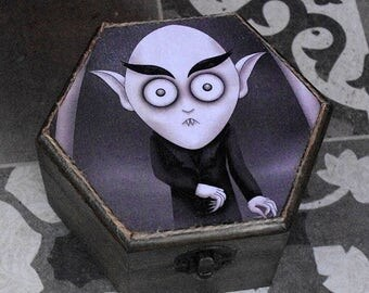 Gothic style little wooden box. Count Orlok, Nosferatu. Decoupage and hand painted. Jewelry box.