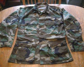 Vintage Military Issue U.S. Army Woodland Camo BDU Jacket Shirt EUC - Choose From Med. Regular, Med. Long, Med. Short