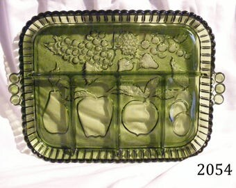 Green Fruits 5 part Relish Dish by Indiana Glass