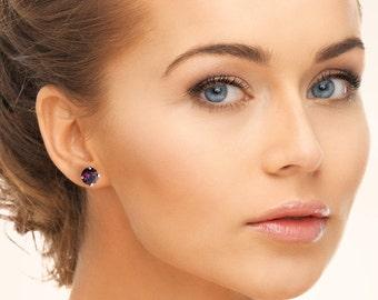 Amethyst stud earrings - Swarovski crystal
