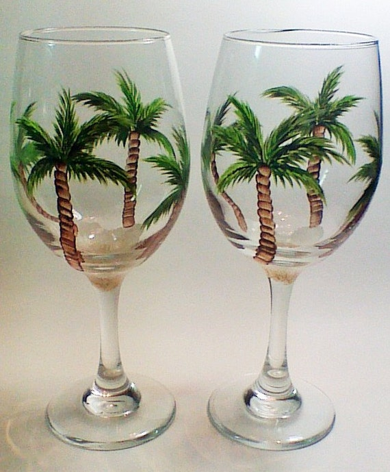 Hand Painted Wine Glasses With Palm Tree