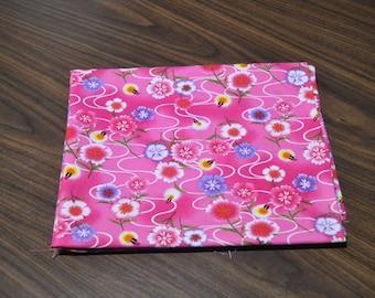 cotton pink firefly fabric 1/2 yard