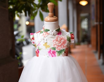 girl cheongsam style tutu dress handmade red/white