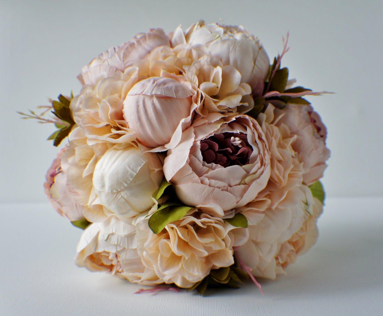 Blush Peony Bridal Bouquet Silk Wedding Flowers Vintage