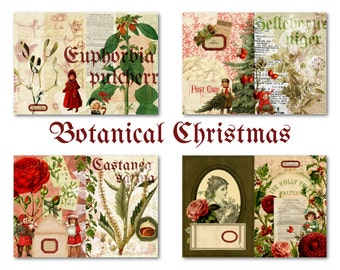 Printable Christmas Journal Kit for Junk Journal or Mini Album - Greeting Cards, Notepaper & Stationery Set