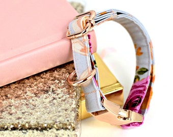 Dog Collar - Pretty Floral - Gray with Pink/Purple Print - Rose Gold Hardware