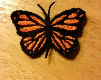 Embroidered butterfly barrett
