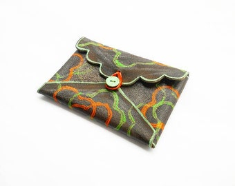 Leather envelope wallet - Minimalist - Small - Mini - Painted - Floral - Credit card holder - Case - Photo - Business - Orange - Green