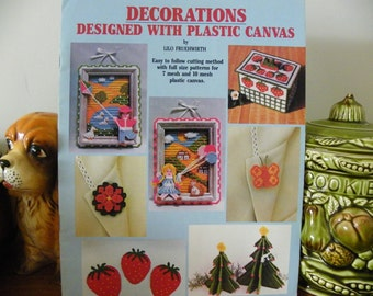 "Plastic Canvas Patterns ""Decorations Designed With Plastic Canvas - Easy To Follow Cutting Method With Full Size Patterns"