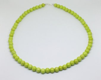 Lime green wood bead choker necklace