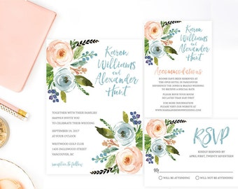 Floral Wedding Invitation Suite, Wedding Invitation Set, Watercolor Wedding Invitation, Wedding Invitation Printable, Wedding Invites WTRFL